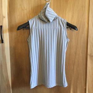 90s Ribbed Grey Turtleneck Sleeveless Stretchy Top